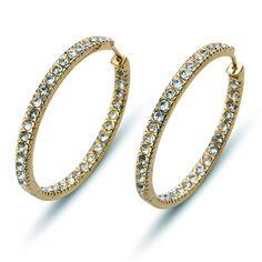 Σκουλαρίκια από ρόδιο και πέτρες Swarovski! #swarovski Bangles, Bracelets, Stones And Crystals, Swarovski, Detail, Gold, Jewelry, Jewlery, Jewerly