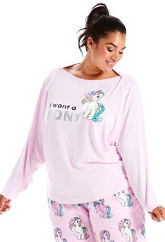 P.A. Plus I Want A Pony Long Sleeve Top | Peter Alexander