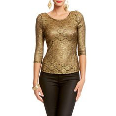 Coated Metallic Lace Top ($27) ❤ liked on Polyvore