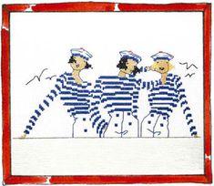 Rue du Port - Broderie à points comptés - Broderie - Trois copines Cross Stitch Designs, Cross Stitch Patterns, Rue Du Port, Stitches Wow, Navy Cross, Summer Diy, Beach Art, Le Point, Art Techniques