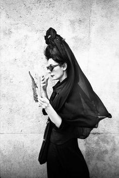 Diane Peret, black dress forever. by franck Languillez