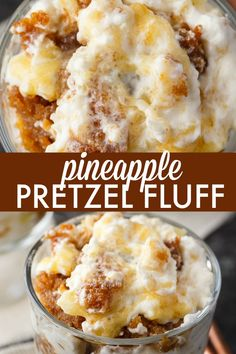Pineapple Pretzel Fluff - Bet you can't eat just one! This creamy rich dessert is one for the record books. Pineapple Pretzel Fluff - Bet you can't eat just one! This creamy rich dessert is one for the record books. Fluff Desserts, Köstliche Desserts, Delicious Desserts, Dessert Recipes, Dinner Recipes, Healthy Desserts, Healthy Food, Yummy Food, Healthy Recipes