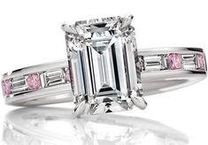 Emerald Cut Diamond Engagement Ring Natural Fancy Pink Diamonds Platinum Band