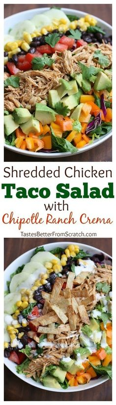 Shredded chicken taco salad with chipotle ranch crema is a delicious taco salad packed with fresh veggies and drizzled with a Chipotle Ranch Crema. | tastesbetterfromscratch.com via @betrfromscratch