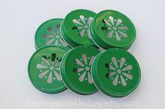 6 Emerald Green Mason Jar Lids Daisy Flower by MoreSprinkledJoy