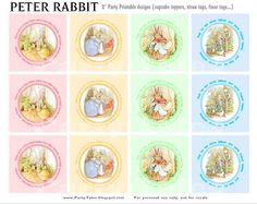 Free Printables ~ Peter Rabbit Cupcake Toppers...