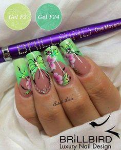 Green floral nail art ❤ nails floral nail art, nails и long Fancy Nails, Cute Nails, Pretty Nails, Butterfly Nail Designs, Pretty Nail Designs, Long Acrylic Nails, Long Nails, Nagellack Design, Nail Art Designs Videos