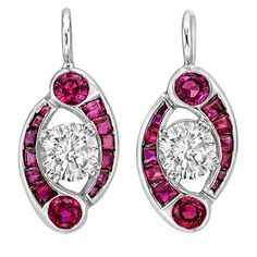 Diamond Ruby 'Comet' Drop Earrings | From a unique collection of vintage drop earrings at https://www.1stdibs.com/jewelry/earrings/drop-earrings/