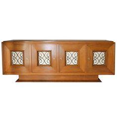 French Oak Sideboard Steel/Parchment Details
