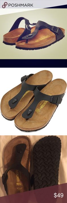 Birkenstock Brand New black Gizeh Sandal New without box.  Never worn.  Size 38 Birkenstock Shoes Sandals