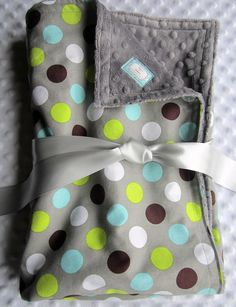 "Blue and Gray Baby Boy Blanket 35"" x 29"" in Handsome Dot Gray, Lime Green, Aqua, Teal, Brown, White Dots Cotton with Minky Dot Chenille. $36.00, via Etsy."