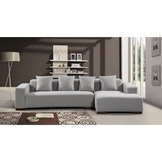 Brayden Studio Bracero Sectional Upholstery: Gray, Orientation: Right Hand Facing Modular Design, Modern Design, Leather Sectional Sofas, Fabric Sectional, Best Sofa, Furniture Deals, Living Room Furniture, Upholstery, Lyon