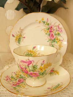 Exquisite Vtg Adderley Bone China Trio Tea Set TeaCup Floral Pattern Shabby Chic