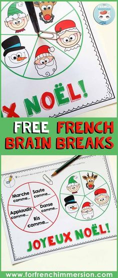 FREE French brain breaks for Christmas! Spin the spinners and give your students' brains a fun break. French Flashcards, Flashcards For Kids, How To Speak French, Learn French, Christmas Activities For Kids, Christmas Ideas, Xmas, French Education, Core French