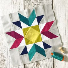 Perfect HST BOM Block Crystal Star Hey, did you guys notice that it's June already? And that means I've got another Perfect HST BOM block to show you! This is Crystal Star. I adored living in Washington, D. Star Quilt Patterns, Modern Quilt Patterns, Star Quilts, Pattern Blocks, Scrappy Quilts, Quilting Projects, Quilting Designs, Vogel Quilt, Quilt Blocks Easy