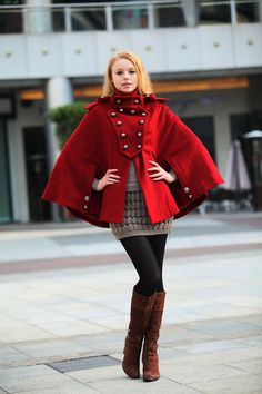 Red Cashmere Cape Coat Double Breasted Army Style Wool Cloak Winter Coat For Women - NC242