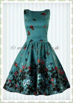 Lady Vintage 40er Jahre Vintage Schmetterlinge Kleid - Butterfly - Petrol