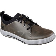 Skechers Men's Skech-Air: Porter - Elden Gray - Skechers ($70) ❤ liked on Polyvore featuring men's fashion, men's shoes, grey, mens gray dress shoes, mens oxford shoes, skechers mens shoes, mens grey oxford shoes and mens lace up shoes