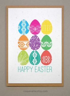 Modern Easter Card  Happy Easter Greeting Card  Easter Egg