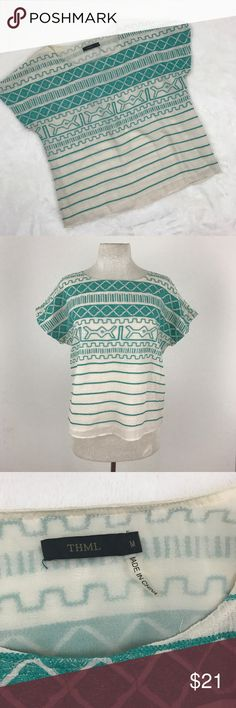 """Teal Embroidered Short Sleeve Box Cut Blouse Absolute beautiful detail on this blouse! Great preloved condition with one small faint stain ( see last photo for reference ) that will most likely come out once cleaned.  Size medium Armpit to armpit 21"""" Length 23""""  Now accepting offers on bundles ! One low shipping rate no matter how many pieces are bundled 💕 THML Tops Blouses"""