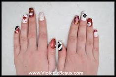 Alice in Wonderland- red queen nails Red Queen Costume, Alice In Wonderland Nails, Queen Of Hearts Alice, Queen Nails, Natural Looks, Coffin, Acrylic Nails, Nail Art, Shapes