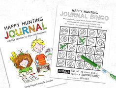 Happy Hunting Journal Bingo is a free game to help kids learn the happy habits while engaging with the Happy Hunting Journal. Bingo Sheets, Bingo Cards, Creative Activities, Play To Learn, Free Games, Kids Learning, Have Fun, Hunting, Joy