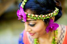 Fresh Floral Jewelry - Sarah Khan Event Styling, matha patti, indian jewelry, Indian wedding, indian, Mehndi, Sangeet, Ladies Sangeet, Tikka, orchid, Henna