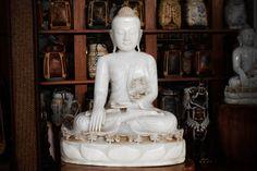 White Marble Buddha Statue. Buddhist Carving by SiamSawadee, $1249.99