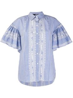 Blue and white cotton embroidered striped Shirt from Karl Lagerfeld featuring pleated details, short wide sleeves, a classic collar, a front button placket, a relaxed fit and a curved hem. Sewing Clothes, Karl Lagerfeld, Button Down Shirt, Front Button, Women Wear, Men Casual, Blue And White, Shirt Dress, Mens Tops
