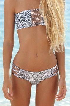 Mikoh Swimwear | Sunset Bandeau Bikini Top in Water Snake Night | Bikini.com