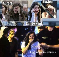 Here's a photo of a girl who played roles as a crisis actor in three previous false flags, and now it seems she has also been in Paris.