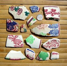 Image detail for -14 Sea Pottery Shards - Scottish Beach Finds - Jewelry Supplies (1009)