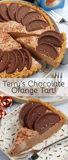 No-Bake Terry's Chocolate Orange Tart! - Jane's Patisserie - No-Bake Terry's Chocolate Orange Tart! – Jane's Patisserie - Tart Recipes, Cheesecake Recipes, Baking Recipes, Sweet Recipes, Cheesecake Bars, Fudge Recipes, Homemade Chocolate, Chocolate Recipes, Chocolate Tarts