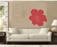 Two Flowers- Wall Decal. $48.99, via Etsy.