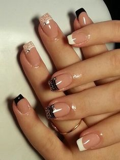 Maybe wedding nails Aqua Nails, Glam Nails, Cute Nails, Pretty Nails, Nail Tip Designs, Square Nail Designs, French Nail Designs, Nail Swag, French Nails