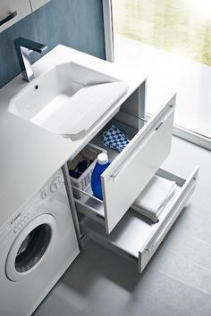 Garage Laundry Rooms, Small Laundry Rooms, Laundry Room Storage, Laundry Room Design, Laundry In Bathroom, Bathroom Design Luxury, Modern Bathroom Decor, Home Decor Kitchen, Bathroom Furniture