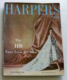 50s HARPER'S BAZAAR magazine BALENCIAGA vintage fashion beauty perfumes adverts