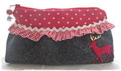 Trachtentasche – Clutch CHRISTEL schwarz & rot