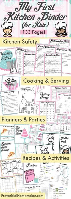 133 page binder to teach kids in the kitchen! Do you have a little cook in training? Kids love to work in the kitchen and My First Kitchen Binder for Kids is perfect for helping them get started! Cooking with Kids Cooking Classes For Kids, Cooking With Kids, Cooking Tips, Cooking School, Cooking Recipes, Cooking Steak, Easy Recipes, Cooking Bacon, Cooking Games