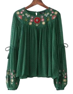 Floral Embroidery Chiffon Shirt bow tie sleeve O neck vintage pleated blouse ladies casual tops blusas Decoration: Embroidery Sleeve Length(cm): Full Collar: O-Neck Pattern Type: Floral Style: Vintage Fabric Type: Chiffon Material: Polyester Chiffon Shirt, Chiffon Tops, Floral Chiffon, Chiffon Blouses, Floral Fabric, Casual Tops For Women, Blouses For Women, Ladies Blouses, Moda Popular