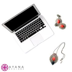 Admiring our Rex necklace and Eva earrings next to the #MacBook. #bling #flat #layout #accessories #Mac #love #obsessed #coral #fashion #jewelrygram #AyanaDesigns