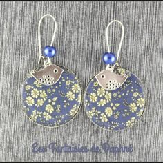Grande boucles d'oreilles motif liberty  capel bleu