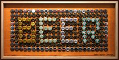 """""""Open Bar"""" sign with wine corks for letters and surrounding beer/liquor caps Bottle Cap Table, Beer Bottle Caps, Bottle Cap Art, Beer Caps, Bottle Top, Beer Keg, Beer Cap Crafts, Cork Crafts, Diy Crafts"""