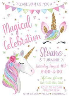 Unicorn Birthday Invitation Digital File Print Yourself Unicorn Themed Birthday Party, Unicorn Birthday Invitations, Unicorn Birthday Parties, 5th Birthday, Birthday Banners, Unicorn Birthday Decorations, Birthday Celebration, Happy Birthday Cards, Birthday Greetings