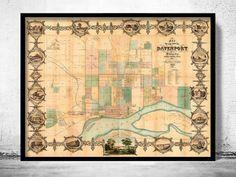 Old map of Davenport Iowa United States 1857 - product image