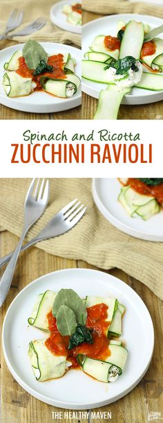 Spinach and Ricotta Zucchini Ravioli - a healthy, veggie swap for traditional pasta! This recipe makes a great low-carb dinner with an extra veggie punch.