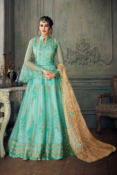 Green net heavy embroidered anarkali suit online which is crafted from net fabric with exclusive embroidery and stone work. This stunning designer anarkali suit comes with santoon bottom and net dupatta. Lehenga Anarkali, Anarkali Suits, Bridal Lehenga, Black Anarkali, Lehenga Suit, Punjabi Suits, Designer Anarkali, Lehenga Choli Designs, Ghagra Choli