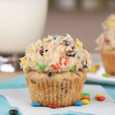Monster Cookie Dough Cupcakes: I'll probably never make these, but these look ridiculously good!