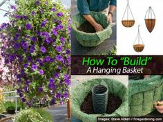 "How to Build A Hanging Basket - A hanging basket is not simply a plant in a pot that hangs. They can fill or break up an empty wall, accent a front porch or create a ball of color. A basket does not need to be a single plant but plant combos with color and form diversity. With limited space, hanging baskets offer a perfect solution for garden color. To create a great looking hanging basket all season long, Fine Gardening has put together a nice tutorial on ""building"" a hanging basket."