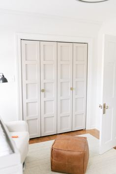 Fall in love with this neutral, whimsical nursery. Baby Brown is here and we're so excited to finally share his nursery reveal! Closet Doors Painted, Folding Closet Doors, Bedroom Closet Doors, Laundry Room Doors, Wardrobe Doors, Modern Closet Doors, Bi Fold Doors, Closet Paint, Wood Closet Doors